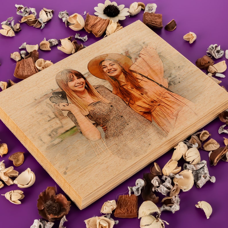 Custom Photo on Wood Engraved Photo on Wood with Watercolor image 5