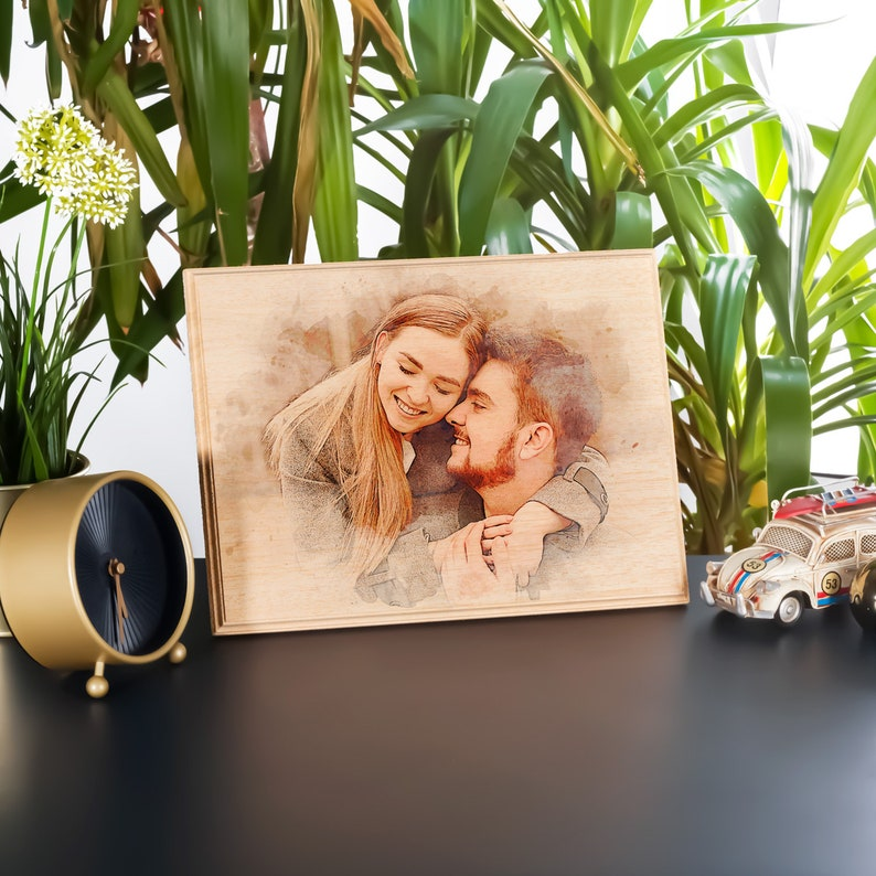 Custom Photo on Wood Engraved Photo on Wood with Watercolor image 1