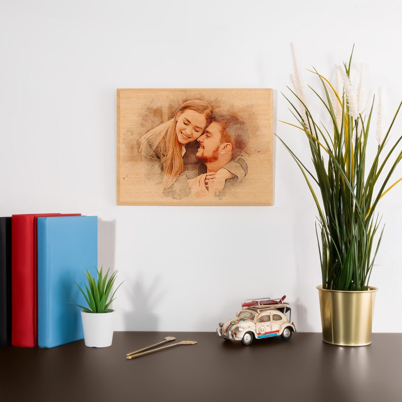 Custom Photo on Wood Engraved Photo on Wood with Watercolor image 7
