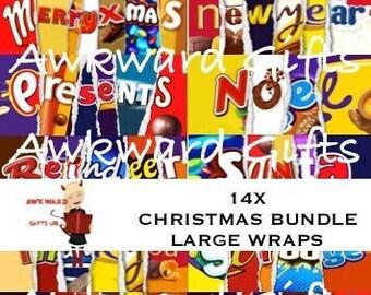 X14 Christmas Large Bundle Printable Family Chocolate Bar Wrapper Novelty Joke Funny Rude Gift Ready to Print JPGs