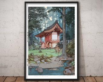 Japan Art Print Temple in the Woods by Hiroshi Yoshida, Japanese Woodblock, Japan Wall Art, Vintage Poster, Shin-Hanga Home decor