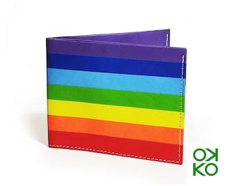 07 - Arcobaleno, rainbow, tyvek wallet OKKO, wallet, gift, gift, auguri, made in italy, artigianato