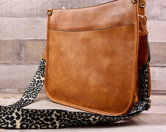 LEOPARD GUITAR STRAP   Brown Vegan Crossbody Bag with Zipper   Adjustable Animal Print Guitar   Soft Leather Perfect For Fall