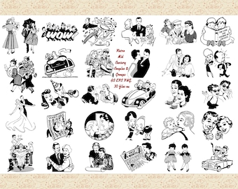 Retro Mid Century Couples and Groups AI EPS (Vector) & PNG (No SvG Files) Retro People, 1950s, 1940s, Vintage Ads, Retro Line Art