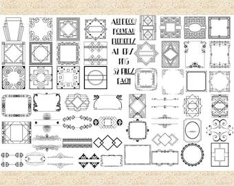 Art Deco/Nouveau Frames Elements Bundle, AI EPS (Not SvG) and Png,Gatsby Labels, Roaring 20's, Art Deco, Art Nouveau Scrolls, Gatsby Wedding