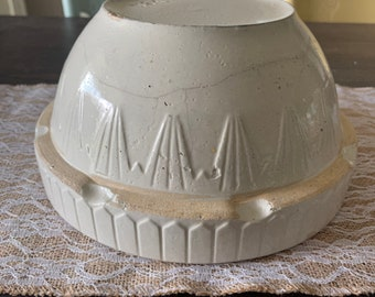 Large Vintage stoneware mixing bowl large bowl with decorative design around its toque serving bowl