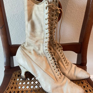 Historical Boots Taupe Edwardian Boots Custom made boots Ivory Victorian Boots SALE Victorian Boots Granny Booties