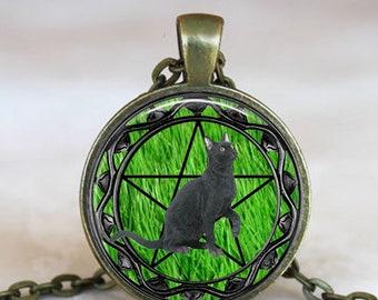 Black Cat Pentacle Necklace