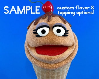 Ice Screamers! Professional Hand Puppet Chocolate Ice Cream Cone Ventriloquist Doll with customizable options