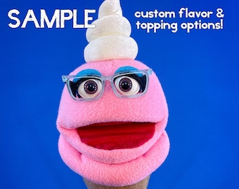 Ice Screamers! Professional Hand Puppet Strawberry Ice Cream Cone Ventriloquist Doll with customizable options