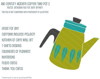 MCM Coffee Time  Pot 2:  Vector .afdesign file for Serif Affinity