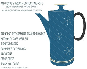 MCM Coffee Time  Pot 3:  Vector .afdesign file for Serif Affinity