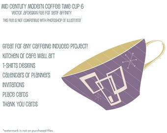 MCM Coffee Time  Cup 6:  Vector .afdesign file for Serif Affinity