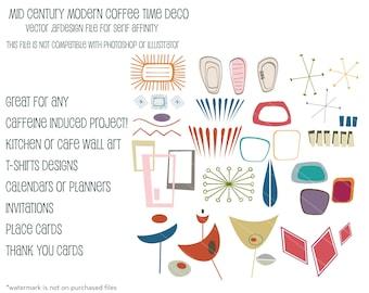 MCM Coffee Time  Atomic Deco Mini Set:  Vector .afdesign file for Serif Affinity