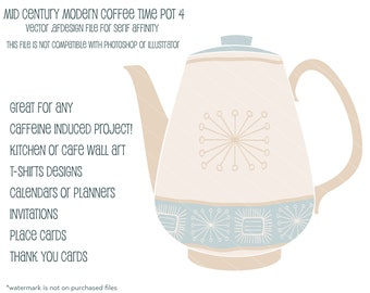 MCM Coffee Time  Pot 4:  Vector .afdesign file for Serif Affinity
