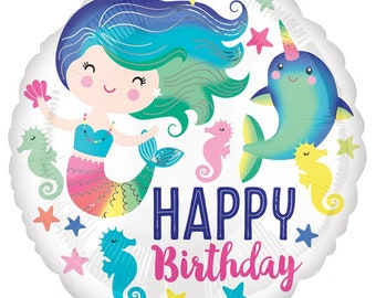 "Mermaid & Narwhal Happy Birthday Balloon 18"" Foil, Mermaid Balloon, Narwhal Balloon, Under The Sea Balloon, Mermaid Party, Narwhal Party"