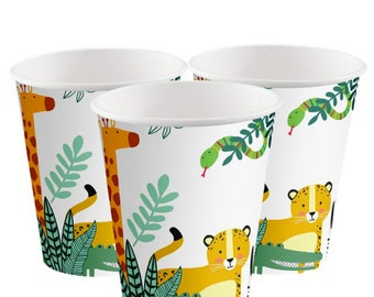 Get Wild Safari Party Paper Cups, Jungle Party Cups, Jungle Party Cups, Wild One Cups, Party Animals Cups, Jungle Birthday, Safari Birthday