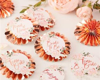 6 Hen Party Badges, Rose Gold Floral Team Bride Badges, Bride to Be Rosettes, Bridal Shower Pins, Hen Party, Bachelorette Party, Photo Props