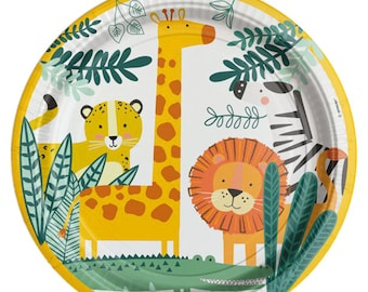 Get Wild Safari Party Paper Plates, Jungle Party Plates, Party Animals Plates, Jungle Birthday, Safari Birthday