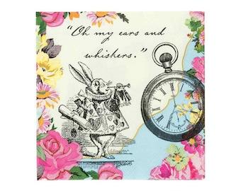 20 Alice in Wonderland Party Napkins, Truly Alice, Alice in Wonderland Birthday Napkins, Alice in Wonderland Napkins, Vintage Tea Party