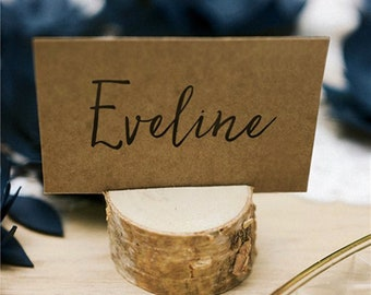 Set of 10 wooden place card holders, wooden table number holder, rustic wedding decor, woodland wedding decor, menu holder
