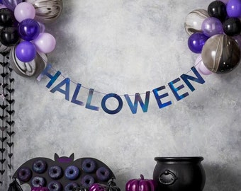 Halloween Bunting with Balloons, Halloween Balloon Bunting, Halloween Decoration, Halloween Party, Halloween Banner with Balloons