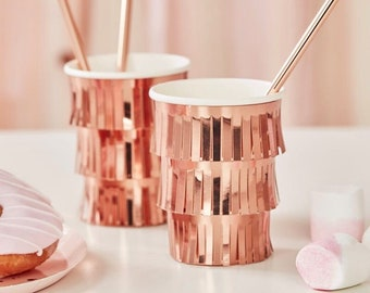 8 Rose Gold Fringe Party Cups, Rose Gold Paper Cups, Birthday Paper Cups, Bachelorette Cups, Rose Gold Party Decorations, Hen Party Cups