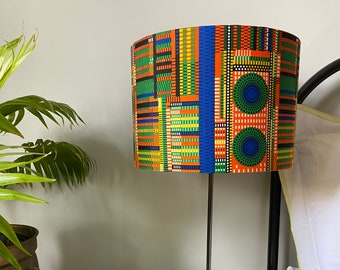 Double-sided lampshade - 30cm diameter with multicoloured 'grid' Ankara print fabric