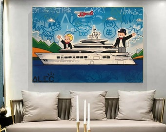 Hand Painted Canvas Monopoly & Richie Rich On Yatch, Oil Painting, Home Decor, Pop art, Money art, wall art, Graffiti, Gift, NOT PRINT