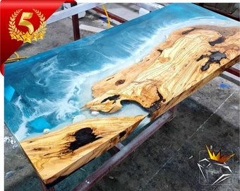 Custom Ocean Table | Live Edge Epoxy Ocean Table | Dining epoxy table | Natural Olvie Table | Express Free Shipping