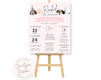 Milestone Birthday Board,First Birthday Poster Template,Dog Birthday Milestone Sign, Dog Pawty,Editable with Canva,Printable Poster