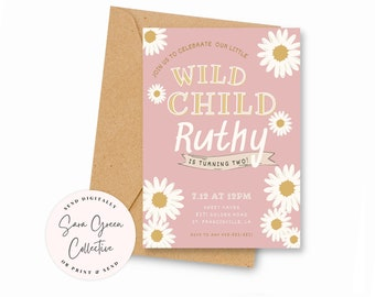Editable Daisy Birthday Party, Daisies Birthday Invitation,Daisy Party, Instant Download,Canva Digital Download, Printable
