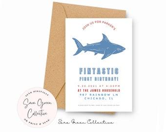 Fintastic Party Birthday   Shark Invitation   Shark Birthday Party   Instant Download   Canva Digital Download   Editable   Printable