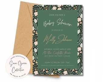 Floral Baby Shower Invitation, Green Floral Shower Invite, Shower Invite, Instant Download, Canva Digital Download, Editable with Canva