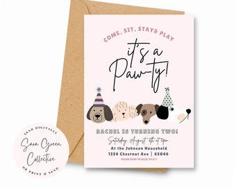 Lets Pawty Birthday,Puppy Invitation, Dog Birthday, Pawty Birthday Invitation, Instant Download, Canva Digital Download, Editable, Printable
