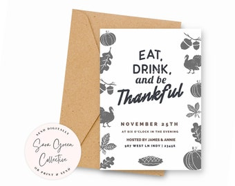Modern Thanksgiving Invite, Thanksgiving Invitation, Eat Drink Be Thankful, Instant Download,Canva Digital Download,Editable, Printable