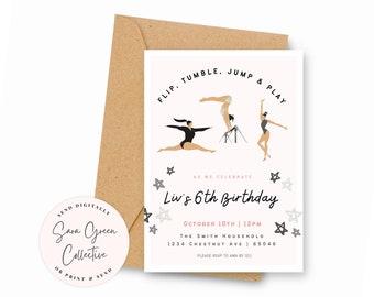 Gymnastics Birthday Party Invite   Run, Jump, Flip & Play Birthday Invitation  Instant Download  Canva Digital Download  Editable  Printable