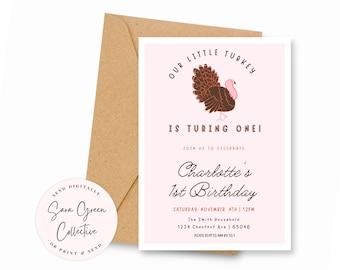 Modern Our Little Turkey Birthday, Turkey Invitation, Turkey Birthday Party, Instant Download,Canva Digital Download,Editable, Printable