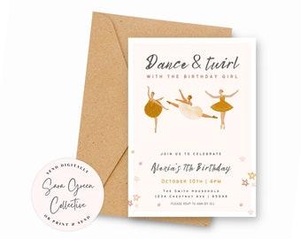 Modern Dance & Twirl Birthday, Ballerina Invitation, Ballerina Birthday Party, Instant Download,Canva Digital Download,Editable, Printable