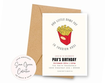 Home Fry Birthday, French Fry Party Invitation, Fries Birthday Party, Instant Download, Canva Digital Download, Editable, Printable