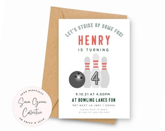 Bowling Birthday | Strike Up Some Fun Invitation | Bowling Birthday Party | Instant Download | Canva Digital Download | Editable | Printable