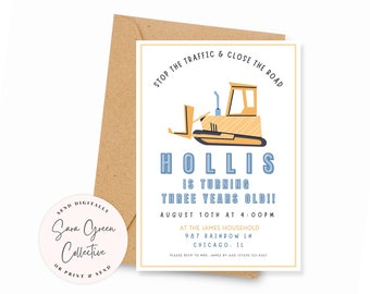 Modern Construction Birthday Party Invite   Construction Invitation   Instant Download  Canva Digital Download  Editable  Printable