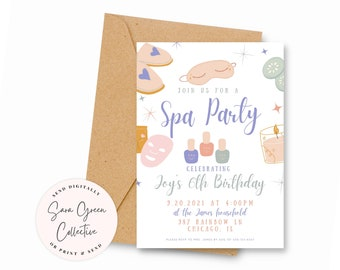Spa Birthday Party Invite   Girls Spa Invitation   Pampering Birthday Party   Instant Download  Canva Digital Download   Editable  Printable