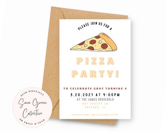 Pizza Party Birthday | Pizza Party Invitation | Pizza Birthday Party | Instant Download | Canva Digital Download | Editable | Printable