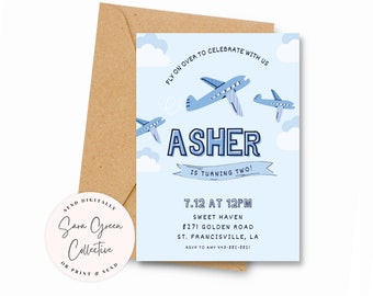 Editable Airplane Birthday Party, Fly Invitation, Airplane Birthday party Invitation,Instant Download,Canva Digital Download, Printable