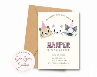 Editable Cat Birthday Party, Kitty Cat Invitation,Party Hat Cats Birthday party Invitation,Instant Download,Canva Digital Download,Printable