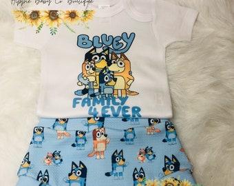 Bluey Bummie, Blue Dog, Bluey, Puppy Dog, Blue Dog, Bluey Outfit, Paw Prints, Puppy, Birthday Bummie, Blue and Friend's