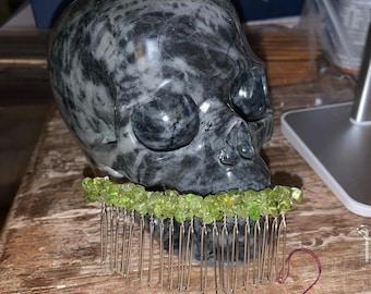Genuine Peridot Handmade Crystal Hair Comb Clip