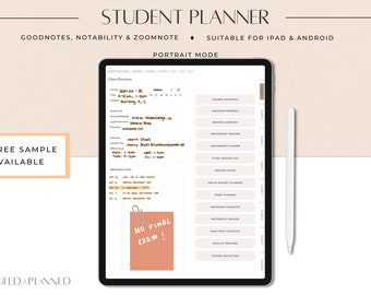 Student Digital Planner, College Academic Digital Planner for Goodnotes, Notability, OneNote, iPad and Android Planner