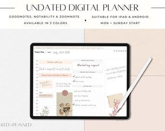 Digital Planner UNDATED - Planner with hyperlinks - GoodNotes Planner Notability iPad Planner - Daily Planner Agenda